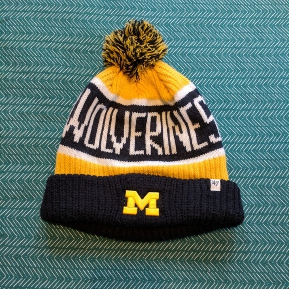 5ff5c6f00e67d Michigan Wolverines Winter Hat - Blue and Yellow. M 5ad6a657b7f72bdeb5f61d31